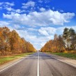 Autumn road under beautiful sky — Stock Photo