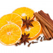 Isolated dried orange slices and cinnamon — Foto de Stock