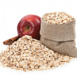 Rolled oats in a bag — Stock Photo