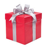 Red box with gift tied with gray bows — Stock Photo