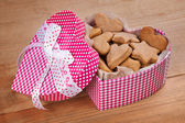 Cookies in the shape of a box of heart on the table — Stock Photo
