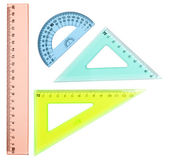 Plastic ruler, protractor, triangle — Stock Photo
