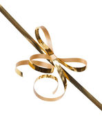 Gold ribbons with bow — Stock Photo