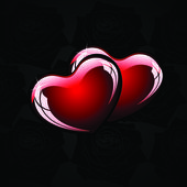 Black background with hearts — Stock Vector