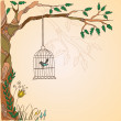 Romantic vintage background with bird. — Stock Vector