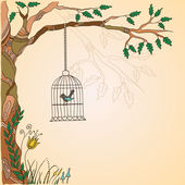 Romantic vintage background with bird. — 图库矢量图片