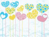 The colored hearts. — 图库矢量图片