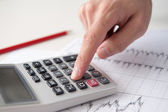 Business analyst calculate revenue on calculator — Stock Photo
