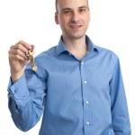 adam holding anahtar — Stok fotoğraf #12822054