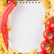 Fresh vegetables, pasta and notebook — Stock Photo