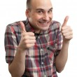 Funny guy showing his thumbs up — Stock Photo