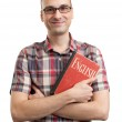 Man with old book of English language — Stock Photo