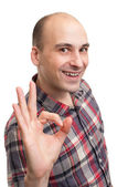 Casual man smiling doing the ok sign — Stock Photo