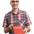 Learning english. Male student with book — Stock Photo #14714747