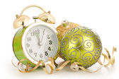Clock with Christmas decoration. New year concept — Stock Photo