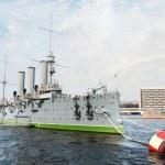 Aurora cruiser museum, Saint-Petersburg, Russia — Stock Photo #16852479
