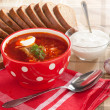 Russian national red soup-borscht — Stock Photo