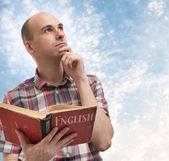 Man reading English — Stock Photo