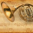 Royalty-Free Stock Photo: French horn. grunge musical background
