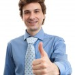 Happy businessman with thumbs up gesture, isolated on white — Stock Photo #19695177
