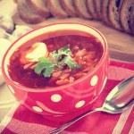 Russian cuisine. Borsch - beetroot soup — Stock Photo #19990481