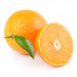 Sweet orange fruit with leaf on white — Stock Photo