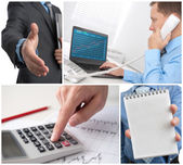 Business theme photo collage — Stock Photo