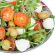 Vegetable salad with mozzarella cheese - Stock Photo