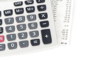 Check and calculator — Stock Photo