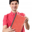 Man showing blank red book — Stock Photo #30396327