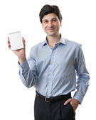 Businessman showing blank notepad with space for text — Stock Photo