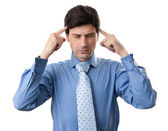 Stressed business man with a headache — Stock Photo