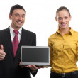 Man and woman with laptop — Stock Photo