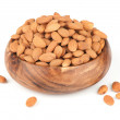 Heap of peeled almond nuts isolated on white — Stock Photo #32957275