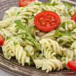 Stock Photo: Fusilli pastwith arugula