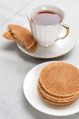Teatime. waffle and cup of tea — Stock Photo