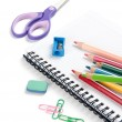 School supplies on white background — Stock Photo