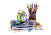 Schoolchild and student studies accessories. Back to school conc — Stock Photo