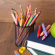 Schoolchild and student studies supplies. Back to school concept — Photo