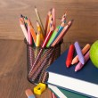 Schoolchild and student studies supplies. Back to school concept — Stock Photo