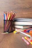 Assortment of school supplies — Stock Photo