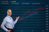 Trader and Stock market graph — Stock Photo
