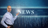 Young Businessman. Online news concept — Stock Photo