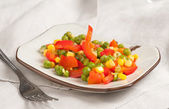 Steamed Organic Vegetables. Peas, Corn and Pepper — Stockfoto