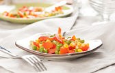 Steamed Organic Vegetables. Peas, Corn and Pepper — 图库照片
