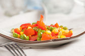 Steamed Organic Vegetables. Peas, Corn and Pepper — Foto Stock