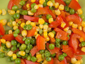 Steamed Organic Vegetables. Peas, Corn and Pepper — Stock Photo