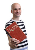 English education. Happy man with textbook — Stock Photo