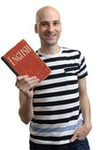 English education. Happy man with textbook — Stok fotoğraf