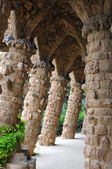 Barcelona: Amazing stone arches at Park Guell — Stock Photo